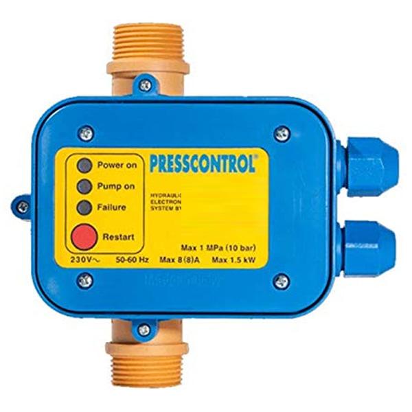 """Presscontrol 2,2 bar regolatore elettronico per elettropompe. CARATTERISTICHE Taratura : 2,2 BAR Alimentazione: 220V-240V Intensità massima: 8 a Frequenza: 50/60 Hz Potenza max della pompa: 1.1 kW Attacco: 1"""" Ingombro: 168mm x 228mm Pressione massima: 10 bar Protezione: IP65 Temperatura max d'esercizio: 60°C"""